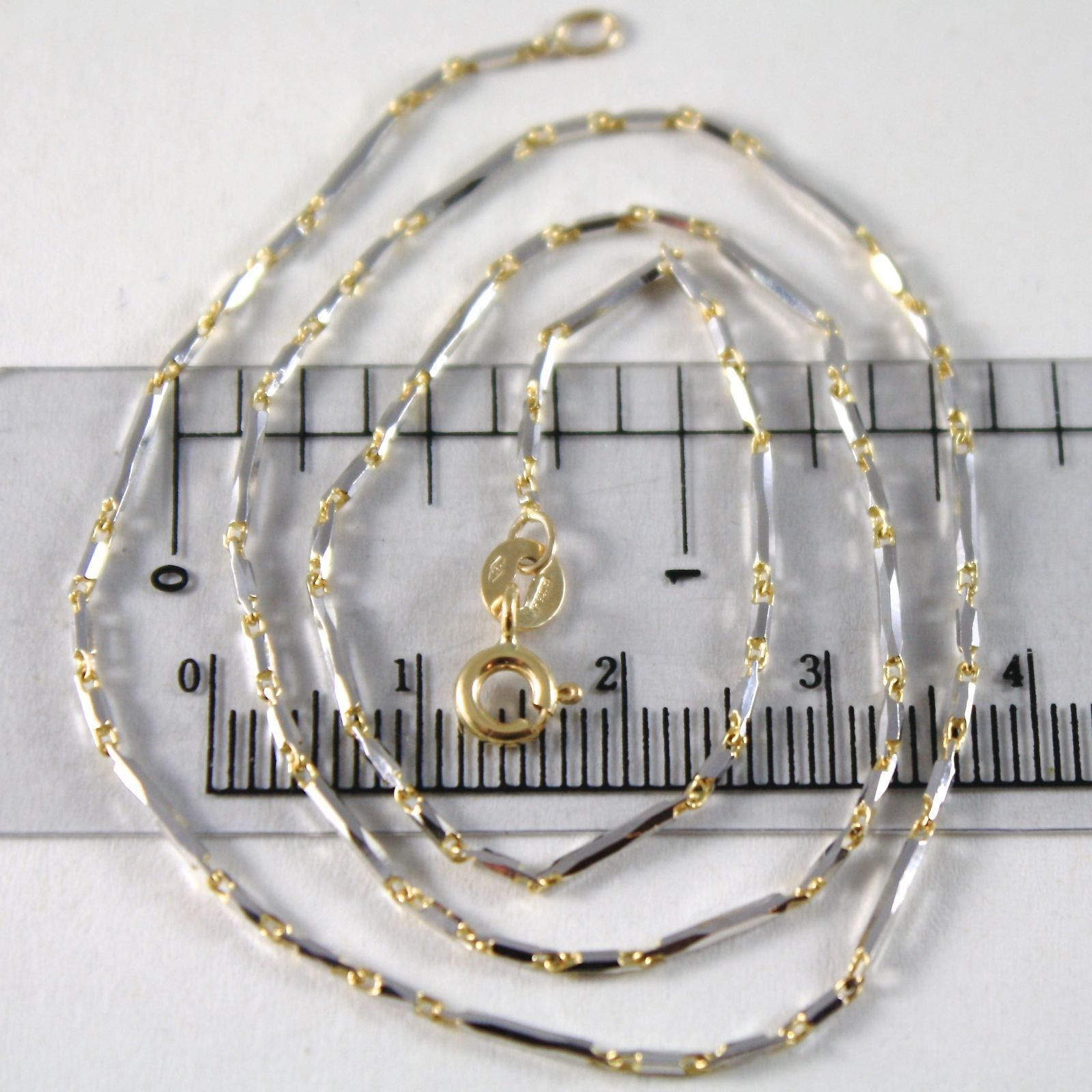 CHAIN CHOKER WHITE GOLD YELLOW 750 18K, 40 CM TUBES ALTERNATING FACETED