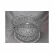 Vtg GLASS CRYSTAL BOWL Swirl Leaf Design fruit Centerpiece thick elegant... - $35.63