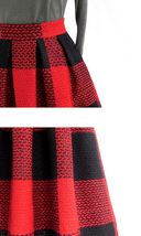 RED PLAID Women Midi Skirt Autumn Classic Plus Size Flannel Long Plaid Skirts image 5