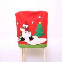 Elfjoy Christmas Chair Back Covers Santa Claus Snowman Elk Ski Party Hom... - $14.71