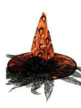Orange Satin Peacock Halloween Witch Hat Lace and Flower Pins - €17,95 EUR
