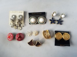 Vintage Designer Clip On Earrings Lot Assorted Costume Retro Mod Jewelry - $37.19
