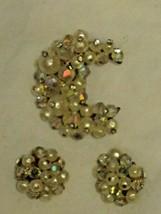 Vintage Laguna Pin Brooch & Clip Earrings Rhinestone Pearl Crescent Moon - $34.65