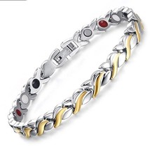 Ladies Classic Stainless Steel Magnetic Bracelet Powerful 3,000 gauss Ma... - $20.01