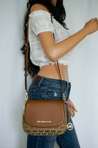Michael Kors Bedford Small Flap Crossbody Jacquard Leaher Bag MK Beige Brown image 2