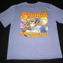 Sturgis Black Hills Motorcycle Rally 2014 Blue Graphic T Shirt Mens Larg... - $14.84