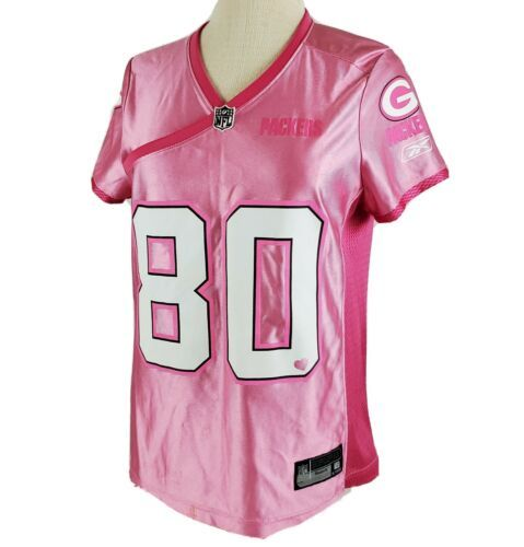 Green Bay Packers Pink #80 Donald Driver Womens M Jersey Reebok NFL Apparel WI - $24.99