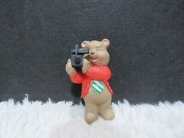 1996 Plastic, Dad Bear In Red Jacket With Camera, Ornament - $4.75
