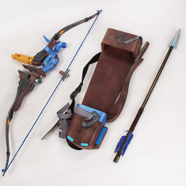 Overwatch hanzo skin young master weapon cosplay replica bow quiver for sale