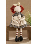 Primitive Doll 40828-Sitting Raggedy Girl Blue Freinds are Forever - $12.95