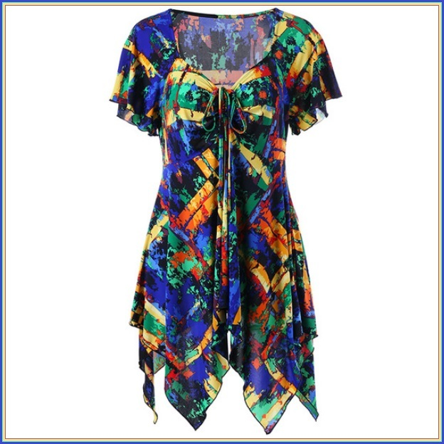 Gypsy Boho Multi Colored Stained Glass Print Short Sleeve Chiffon Scarf Blouse