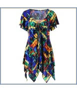 Gypsy Boho Multi Colored Stained Glass Print Short Sleeve Chiffon Scarf ... - $68.95