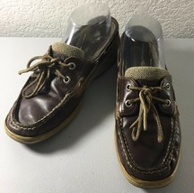 Sperry Top Sider Womens Boat Shoe Loafer Shoes Size 7 Brown Leather Mesh - $15.83
