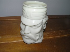 Vintage Avon Marked Carved Cream Glass CASEY AT BAT Head Coffee Mug Cup ... - $7.69