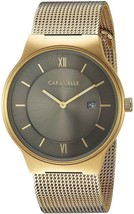 Caravelle New York Men's Quartz Stainless Steel Mesh Band Watch Gold-Toned - £196.57 GBP