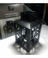 Indoor/Outdoor Tealight black Lantern by Sarah Peyton Home 4 x 4 x 7 w/H... - $4.89