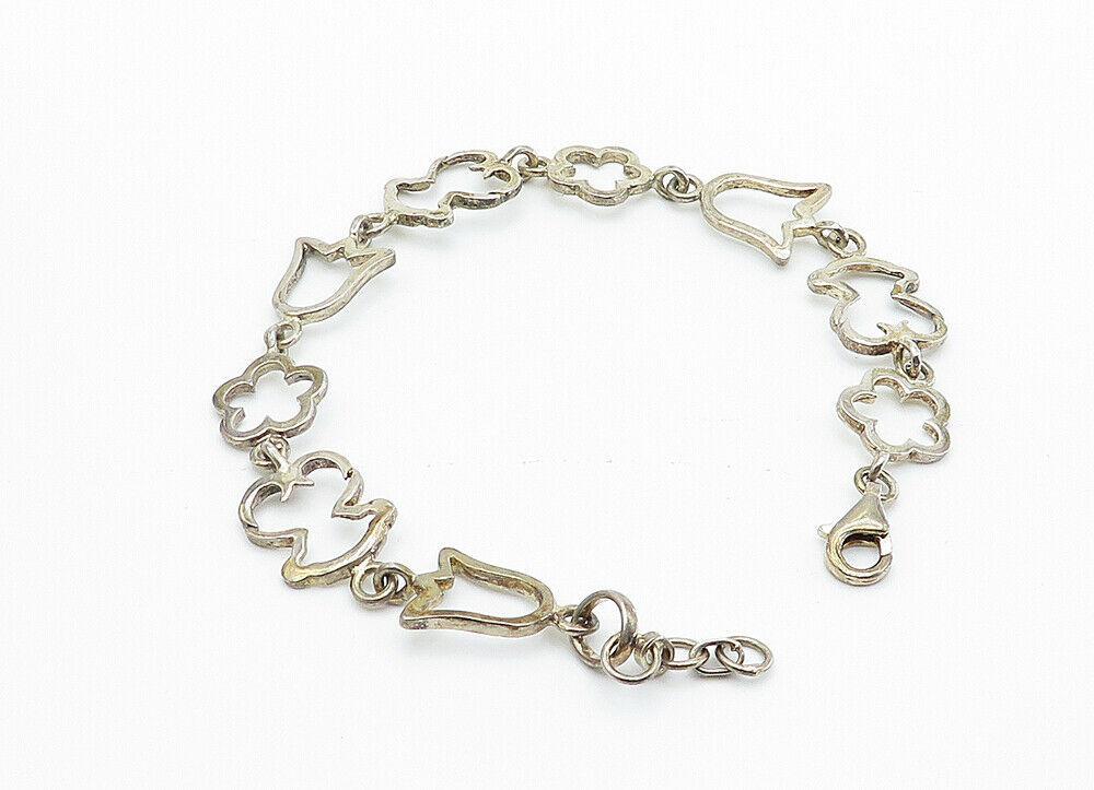 925 Sterling Silver - Vintage Flower Outlined Link Chain Bracelet - B6016 image 2