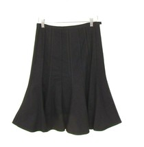 Elevenses Anthropologie Black A Line Panel Skirt Sz 4 Cotton Flare Knee ... - $21.28