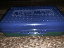 Spacemaker ~ Vtg Green Blue Opaque Hard Pencil Box School Art ~ 8x5x2 Pl... - $10.22