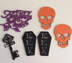 Lot x 6! Wood Crafts Shapes Skull Eek painted plaque Shapes Halloween, New - $8.59