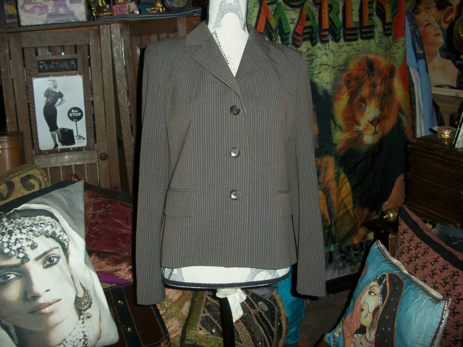 Primary image for BARNEY'S NEW YORK Lovely Chocolate Striped Blazer Size 8