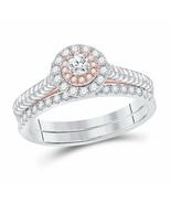10kt Two-tone Gold Round Diamond Bridal Wedding Engagement Ring Band Set... - £499.85 GBP