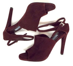 New PRADA Size 9 Burgundy Suede Open Toe Ankle Strap Heels Sandals Shoes 40 image 5