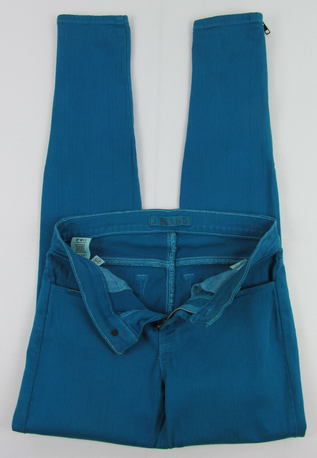 J Brand jeans Azure Ankle Skinny Zipper cuffs USA Made Teal Womens Size 25 image 5