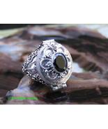925 Silver Bali Poison Ring w Onyx Gem LR-766-DG - $22.99