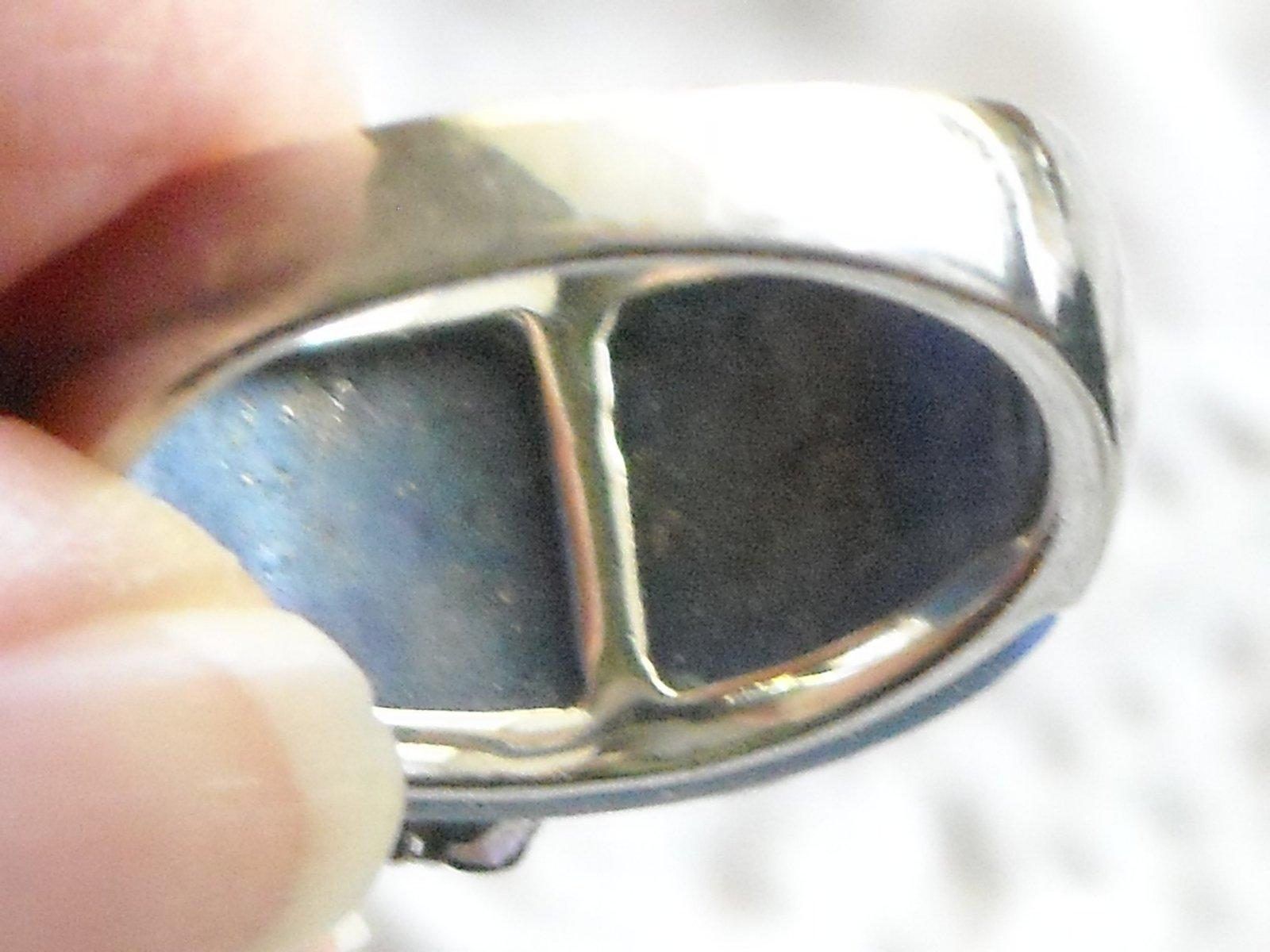 Vintage Sterling Ring Inlaid Laips Lazuli & Gemstones Set In Sterling Flowers 9 image 4