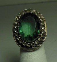 Vintage Sterling Ring Green Stone Size 4 - $22.76