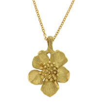 "Auth Tiffany & Co. Vintage 18k Gold Wild Rose Dogwood Flower Necklace Size 16"" - $1,377.93"