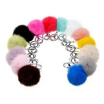 Fluffy Fur Ball Pendant  Charm PomPom Phone Handbag Key Chain 8cm silver... - $3.48