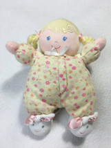 Child Of Mine Plush Blond Pigtail Doll Rattle Bunny Slippers Yellow Flor... - $7.99