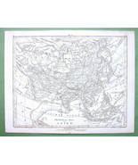 1844 MAP Original - Asia Russia Physical & Sea Currents - $12.15