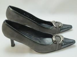 Stuart Weitzman Black and Grey Leather Pumps Size 9 N Excellent Plus Con... - $24.70