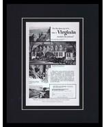 1959 Virginia Tourism Travel Framed 11x14 ORIGINAL Vintage Advertisement  - $41.71
