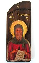 Iconsgr Wooden Greek Christian Orthodox Wood Icon of Antonios Antony/N8 - $38.12