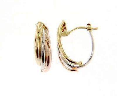 18K YELLOW WHITE ROSE GOLD OVAL HOOP EARRINGS SIZE 20 MM x 12 MM MADE IN ITALY