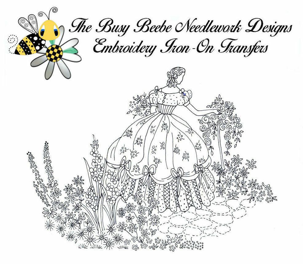 Crinoline Ladies Lady Garden Gal Belle Embroidery Iron-On Transfer #8 - $9.89