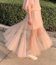 Women Blush Pink Tulle Maxi Skirt Blush Pink Sequin Tutu Mermaid Skirt Plus Size image 2