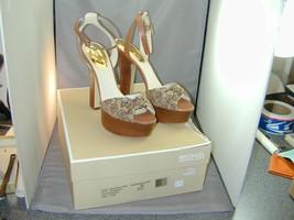 HTF Michael Kors Benji Ankle Strap Platform Sandal Shoe Signature Jacquard 9.5 - $149.99