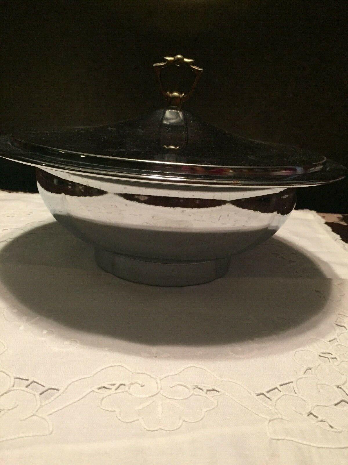 Vintage Kromex Serving Warming Bowl w Lid  Made in USA 1960 Serving Warming