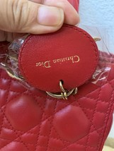 AUTH Christian Dior Lady Dior Medium RED Cannage Lambskin Tote Bag GHW image 9