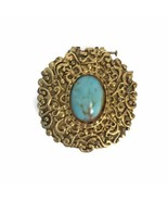 Vintage Max Factor Hypnotique Turquoise Cabochon Solid Perfume Compact - $18.55