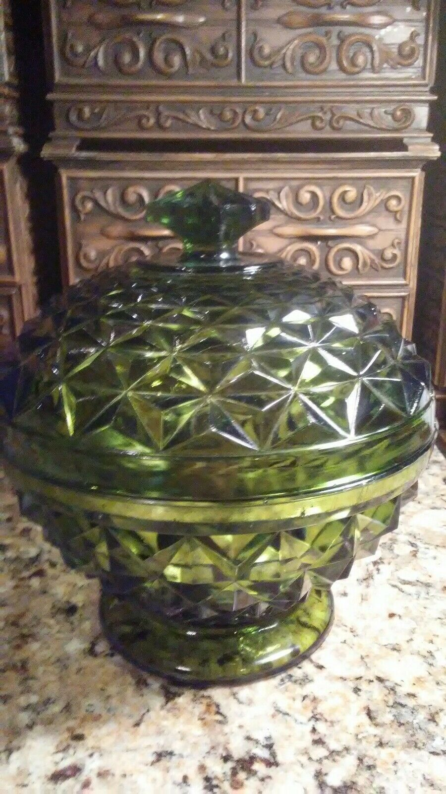 "Primary image for Older Green Glass THICK-LARGE 7.5"" x 7"" Candy Dish L. E. Smith? 1960s Heavy"