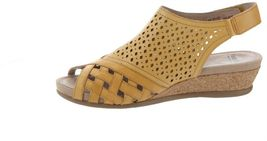 Earth Leather Perforated Wedge Sandals-Pisa Galli Amber Yellow 8M NEW A346894 image 3