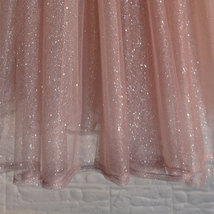 Rose Sparkle Tulle Skirt Long Tutu Glitter Skirt Rose Gold Sequin Party Outfit image 8