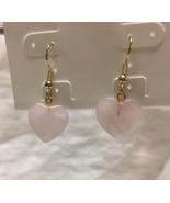 rose quartz heart drop earrings   - $7.43