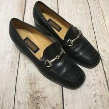 Coach J321  Solid Black Leather Horsebit Loafers Flats Shoes 5.5C 5 1/2C - $38.69